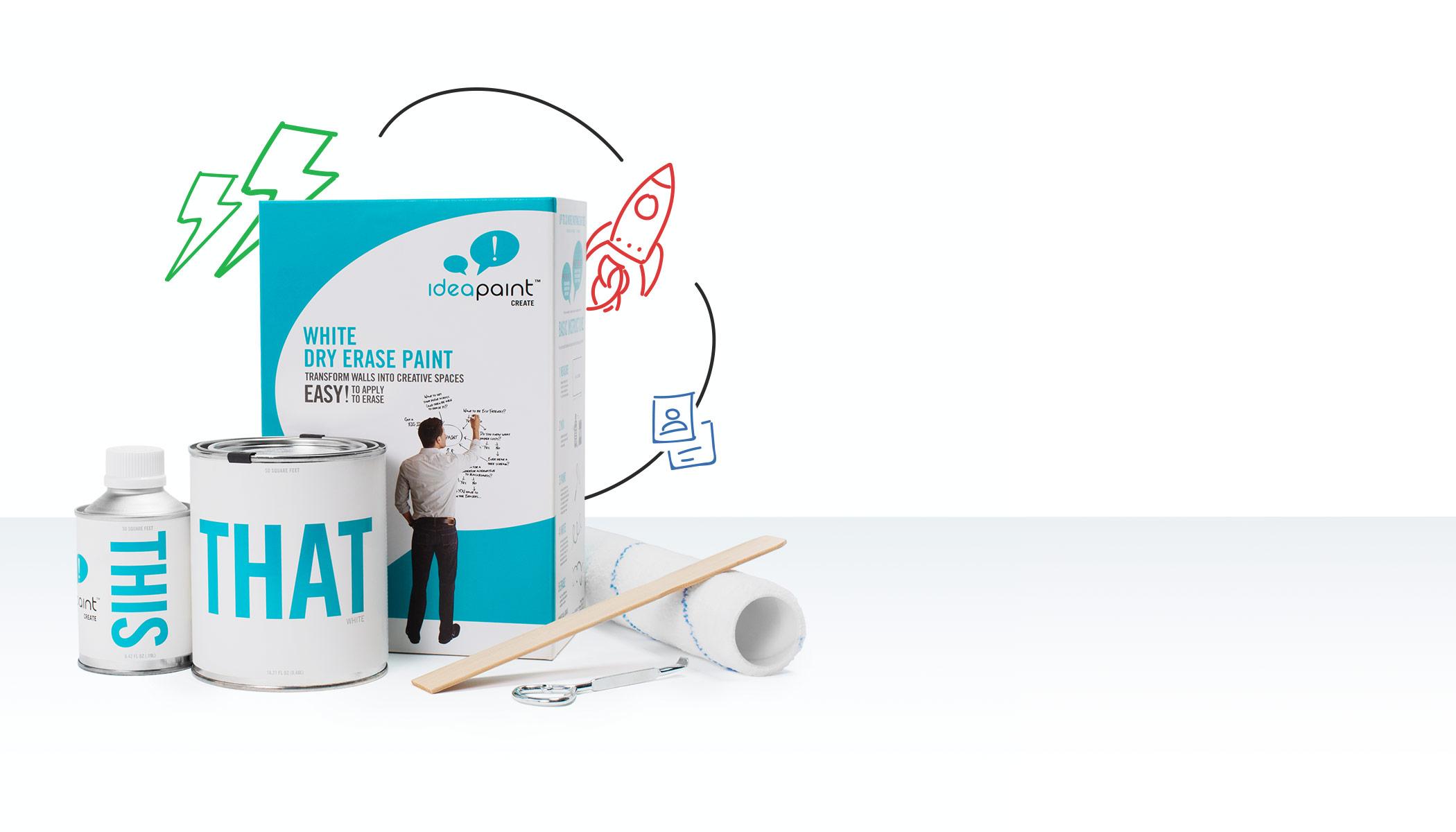 Create WHITE - dry-erase paint - CREATE White Sample - CREATE White 50 sq ft - CREATE White 100 sq ft - CREATE White 200 sq ft